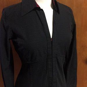 The Limited Eyelet Closure Black Dress Shirt M